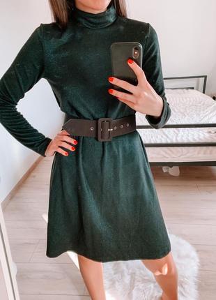 Платье изумрудное с блестящей нитью zara
