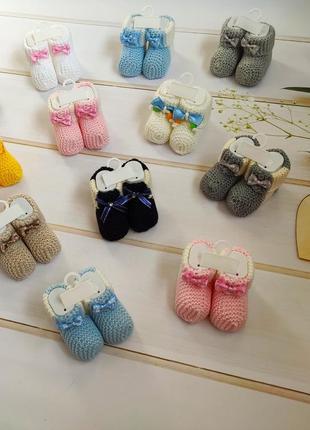 Носочки вязанные с бантиком