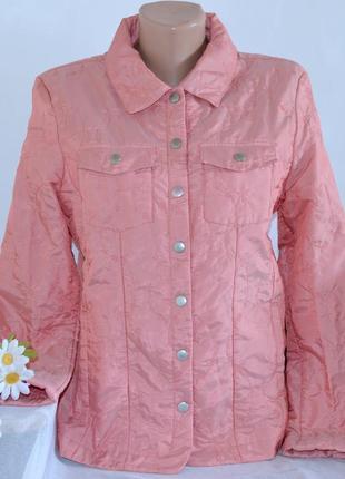 Брендовая розовая легкая тонкая демисезонная куртка жакет tcm tchibo вышивка синтепон