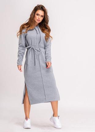 Стильное теплое зимнее серое трикотажное платье на флисе