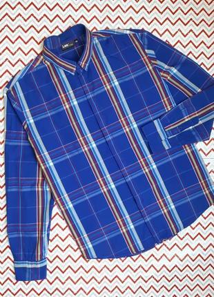 😉1+1=3 брендовая синяя мужская рубашка сорочка в клетку lee оригинал, размер 50 - 52