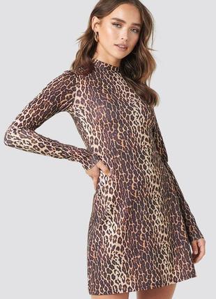 Новое леопардовое платье na-kd размер xs