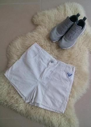 Белые короткие коттоновые шорты с высокой посадки