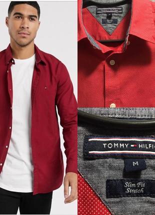 Tommy hilfiger slim fit stretch рубашка принт красная в горошек мужская чоловіча сорочка