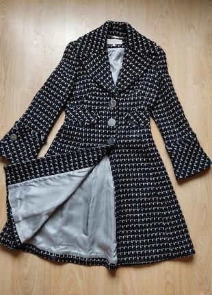 Тёплое пальто karen millen из натуральной шерсти шерстяное с утеплителем
