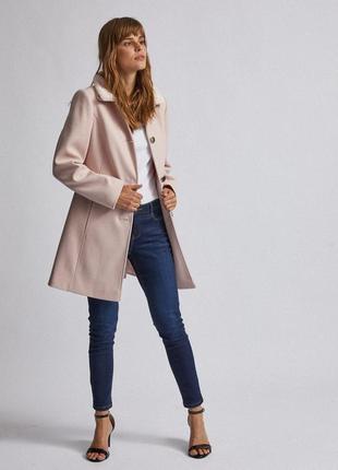 Розовое пальто трапеция приталенное шерстяное dorothy perkins