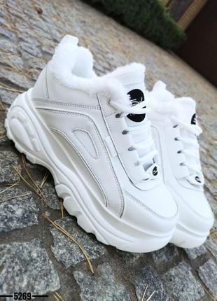 ❤ женские белые  зимние кроссовки на высокой подошве  ❤
