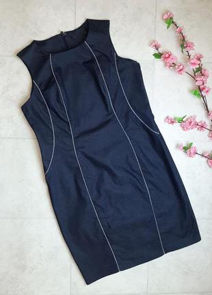 1+1=3 отличное синие приталенное строгое джинсовое платье marks&spencer, размер 52 - 54