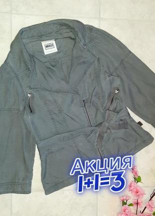 1+1=3 стильная куртка косуха ветровка object цвета хаки, размер 46 - 48