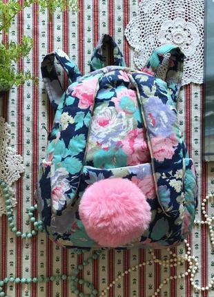 Яркий легкий рюкзак зайка в цветы ручная работа