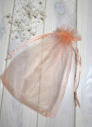 16х23 см мешочек подарочный из органзы с лентами peach probeauty
