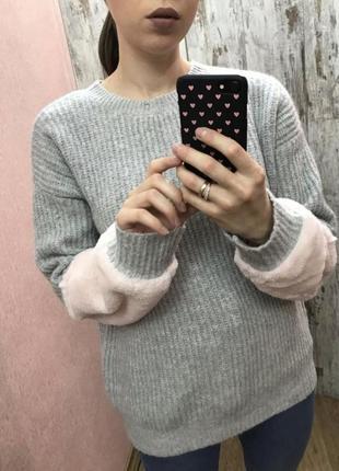 Свитер с меховыми рукавами, плюшевые рукава, мягкий свитер