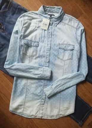 Котоновая рубашка в звезды, джинсовая рубашка, сорочка, блузка, оверсайз, бойфренд
