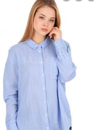 H&m голубая рубашка, сорочка, блузка, оверсайз, бойфренд, прямая, с карманом