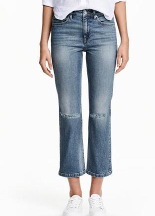 Укороченные актуальные прямые джинсы до щиколотки с разрезами на коленях h&m