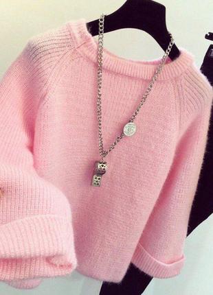 Свитер теплый нежный розовый