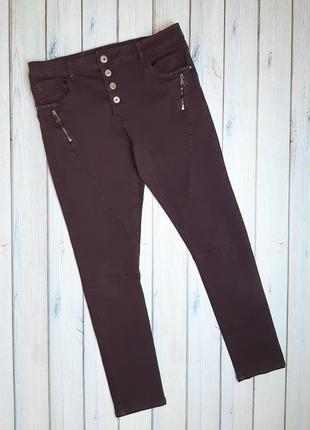 💥1+1=3 женские зауженные узкие джинсы бордо, размер 48 - 50