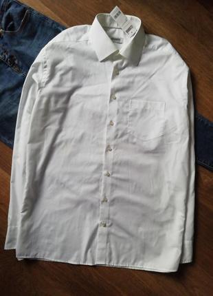 Белая рубашка оверзайз с карманом, сорочка, блузка, большого размера, прямая
