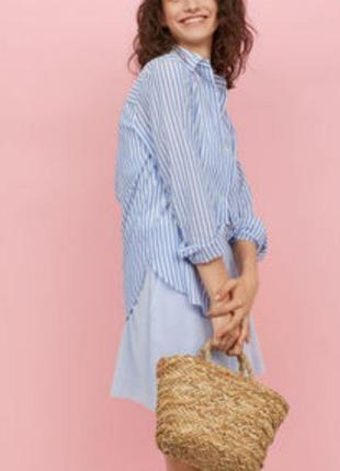 💣 рубашка в голубую полоску, сорочка, оверсайз, бойфренд, рубашка в полоску, с карманом