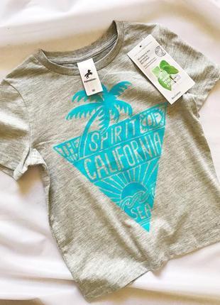 Акция. серая футболка с голубым принтом california, 100% хлопок