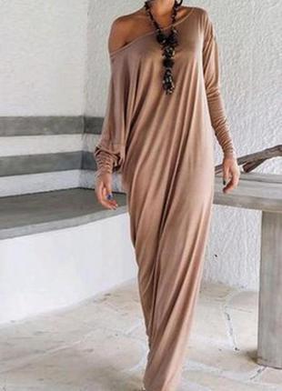 Бежевое пудровое натуральное хлопковое платье-майка макси в пол м, 10 наш 42-44