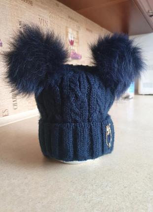 Зимняя шапка arctic с бобоном из песца