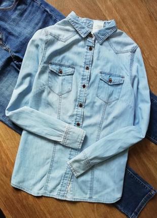 Джинсовая рубашка, котоновая рубашка, сорочка, блузка, оверсайз, бойфренд