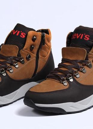 Зимние ботинки  levi's , рыжие ,41,42,43,44,45 размер, замша и мех натуральный