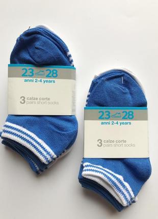Набор из 3 пар коротких носочков ребенку 2-4 года, 23-28 рр. ovs италия
