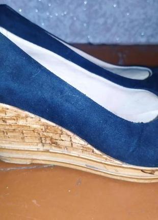 Замшевые туфли синие на платформе  распродажа