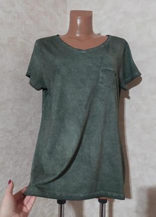 Хлопковая футболка оверсайз цвет хаки, l-xl
