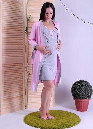 Женский комплект ночная с теплым халатом