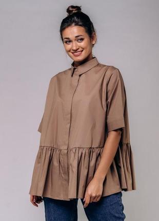 Блуза блузка рубашка на короткий рукав мокко с баской с воланом внизу