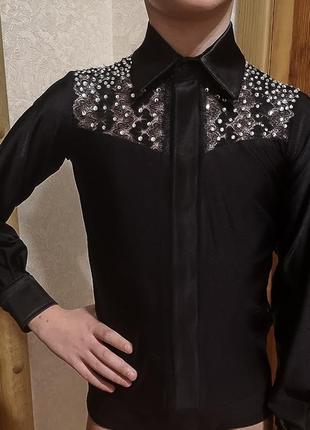 Танцевальная рубашка латина, камни сваровски на рост 134-144см
