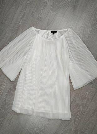 Белая блузка плиссе