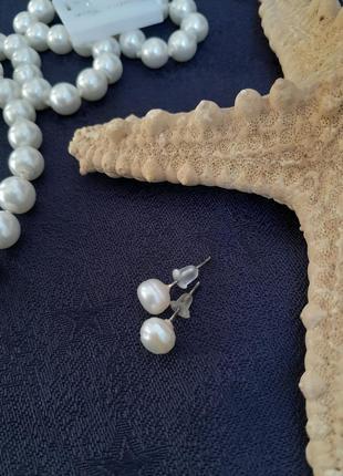 Серьги-пусеты zandar girl с натуральным жемчугом сережки гвоздики жемчужины