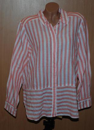 Блуза принтованая бренда  marks & spencer /63%лен 37%хлопок/