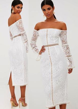 Кружевное ажурное платье prettylittlething c asos
