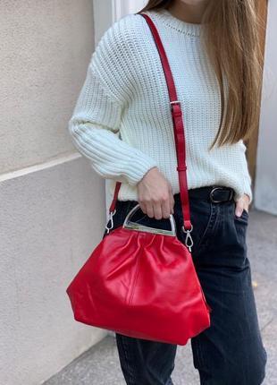 Женская кожаная сумка на и через плечо polina & eiterou жіноча шкіряна сумочка полина