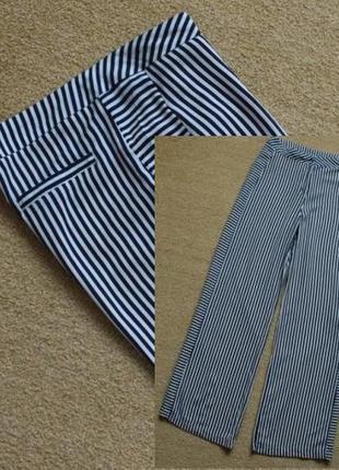 Штаны брюки широкие прямые палаццо в полоску высокая посадка высокая талия jimmy key