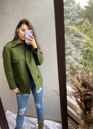 Трендова шерстяна рубашка куртка