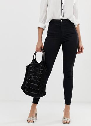 Базовые черные джинсы скинни скини высокая посадка denim co