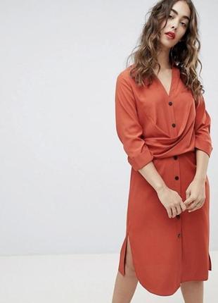 Платье рубашка. платье миди кораллового цвета