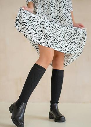Сапоги высокие женские кожаные текстильные ботфорты