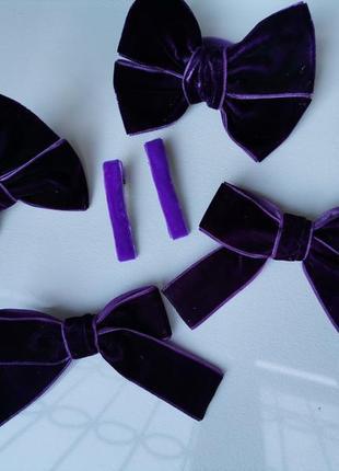 Велюровые банты бантики в фиолетовом баклажанном  цвете