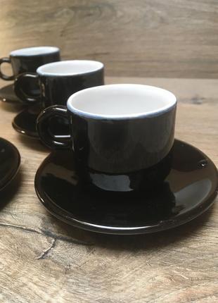 Кофейный сервиз на 3 персоны черный