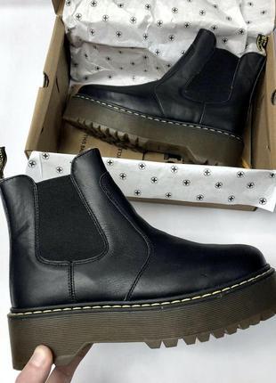 Шикарные женские ботинки dr. martens 2976 chelsea black