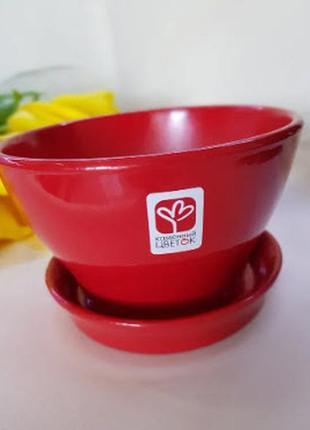 Вазон для растений/ фиалочница, глянец, 13 см, красный
