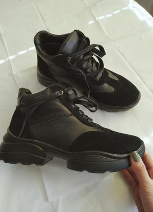 Зимові черевики 38.5-39р, женские зимние ботинки с натуральной кожи+замш