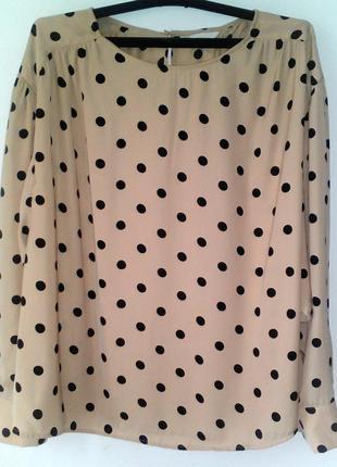 Трендовая бежевая блуза в черный горох с трендовыми рукавами